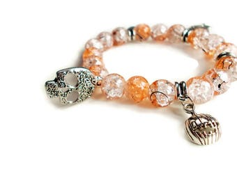 Orange  Crackle Beads Bracelet - Stretch Bracelet - Halloween - Charm Bracelet - Skeleton Charm - Crackle Beads - Skull Charm - Spider Charm