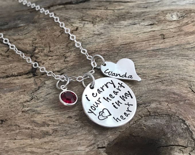 I Carry Your Heart Necklace | Personalized Necklace | Hand Stamped Jewelry | in my heart | Personalized Necklace | Heart Jewelry | Gift