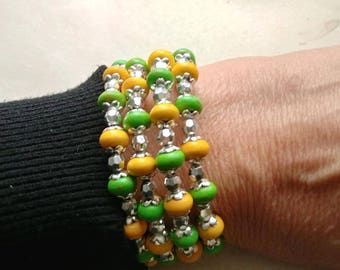 Yellow/Green Silver adjustable memory wire wrap cuff