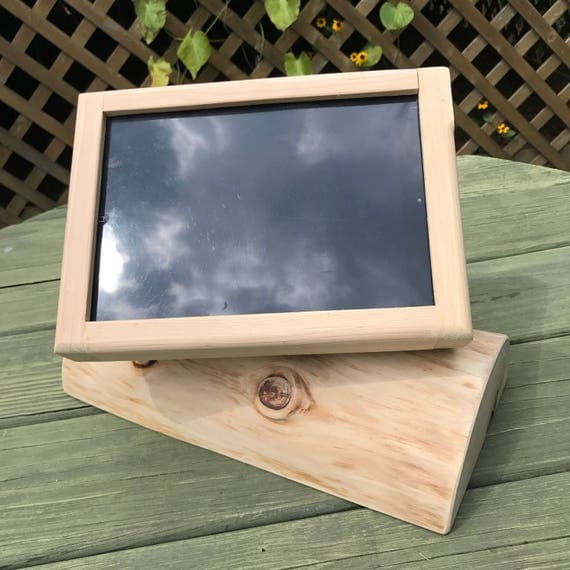 Rustic White Cedar iPad Air Desktop Swiveling Stand for Square Retail POS or Home  Applications