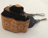 Vintage Camera Caddy Adjustable Hippie Style 2 Inch Wide Yellow Orange Beige Camera Strap from 1970s