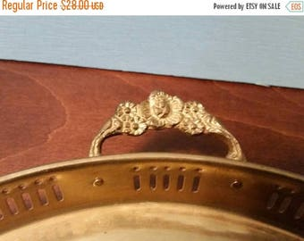 SALE - Brass Tabletop Tray with Flowered Handles - 11 in.