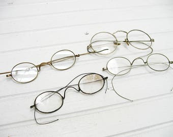 Vintage Wire Rim Eye Glasses Set 4 with Issues - Project Pieces - Wire Rim Assemblage - Misfit Collection