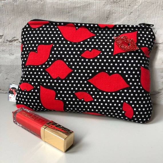 Scarlet Kisses Cosmetic Make up Bag Red and Black