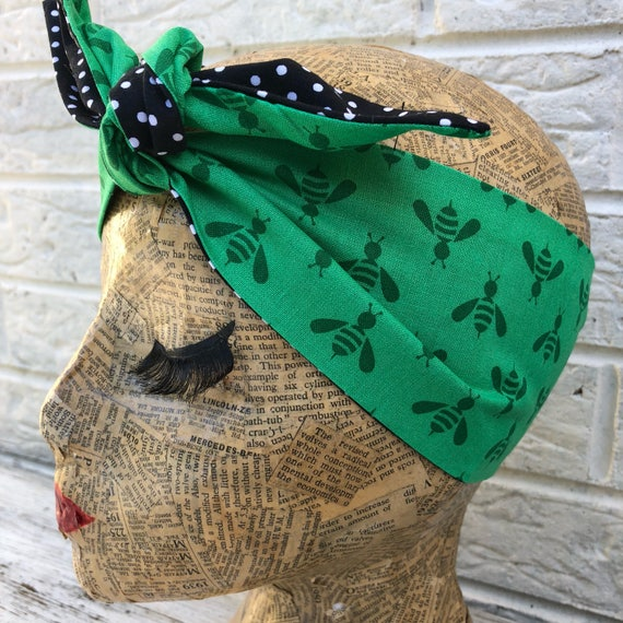 Green Bumble Bee Headscarf Rockabilly Pinup 1950's Inspired