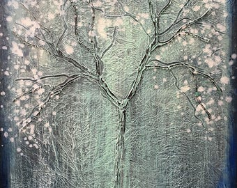 Magic Seasons Winter Tree Textured Original Painting by artist Rafi Perez on Canvas 18X24
