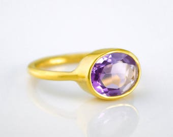 Purple Amethyst Ring, February Birthstone Ring, Purple Ring for her, Stacking Ring, Gold Plated, oval Ring, birthday gift, stackable ring