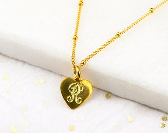 Personalized Monogram Necklace, Valentines day gift for her heart necklace, custom initial necklace gift love necklace, engraved heart charm