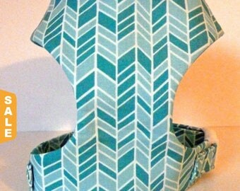 """Puppy Love Sale - 40% Off Herringbone - Turquoise & Teal Soft Dog Harness """"Sea Glass"""" - Soft on Your Dogs Skin - Avail"""
