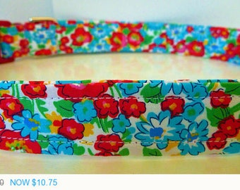 """Sale - 50% Off Dog Collar - Red and Blue Modern Vintage Inspired Floral Dog Collar """"Poppy"""" - Free Colored"""