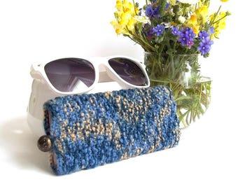 SALE - 50% OFF. Blue Glasses Case. Eyeglasses Case. Eyeglasses Holder. Sunglasses Case. Reading Glasses Case. Glasses Holder.