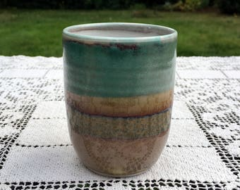 """Handmade Tumbler/Ceramic Art Pottery/Turquoise & Brown/ 4"""" Hand Thrown Cup/Minimalist Tumbler/Studio Pottery Cup/Signed Art Pottery/ VGC"""