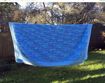 Save 15% OFF Vtg Warm Blue Afghan Variegated  with Green 44x54 Square Couch Throw Close Weave Cozy Cuddle Lap or Baby Blanket Crocheted Mach