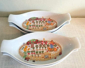 Save 15% OFF ENESCO Easter Dishes/Vegetable Patch Dish/ 4 Au Gratin Dishes/Spring Au Gratin/White & Green Floral/Japan 1969-1980/8 in Oven D