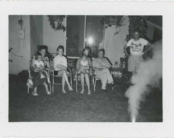 Fireworks, c1950s Vintage Snapshot Photo (57388)