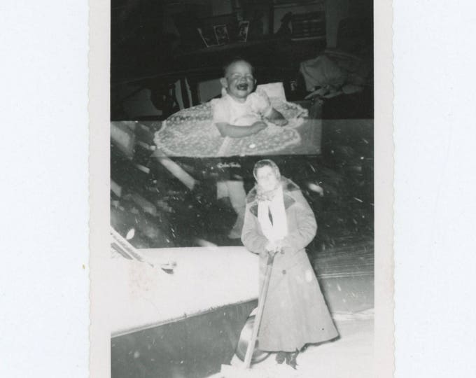 "Vintage Snapshot Photo: Double Exposure ""Kay & Georgeanna"" c1950s (78600)"