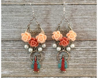 La Virgen de Guadelupe and Roses Earrings