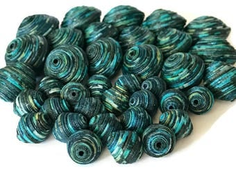 Mixed Lot of Beads, Textile Beads, Fabric Beads, Fiber Beads, Multicolored Beads, Handcrafted Multiple Sizes Bicone Shape Unique Fiber Beads