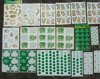 Vintage St Patricks Day Shamrock Leprechaun Stickers Seals Scrapbook Party Decor Craft Supply Lot