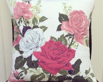 "vintage roses barkcloth pillow cover 14"""