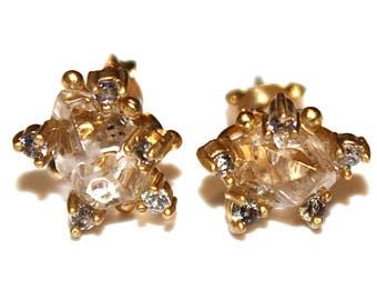 Chunky Quartz Stud Earrings Formal Earrings Herkimer Quartz Jewelry Free Form Earrings Herkimer Diamond Quartz Prong Set Earring Raw Gem