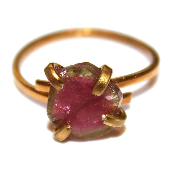 Pink and Green Watermelon Tourmaline Ring