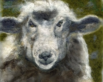 Needle felted sheep print 20 x 20 cm square