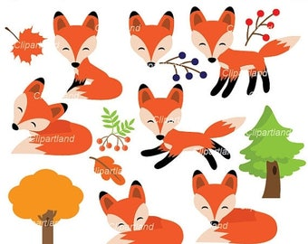 ON SALE INSTANT Download. Foxes clip art. Cfox_2. Personal and commercial use.