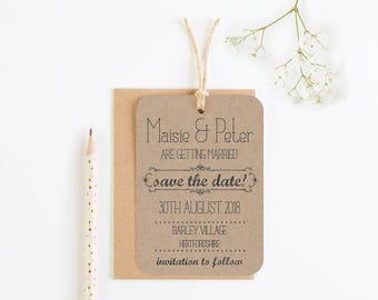 Kraft save the date - rustic wedding tag