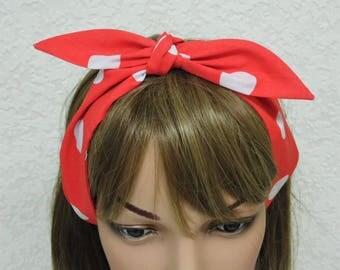Tie up headband, polka dot headband, pin up style head scarf, tie up hair scarf, rockabilly headband, hair care accessory, polycotton