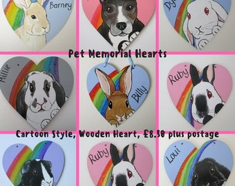 Pet Memorial Heart Portrait Painting Personalized Cat Dog Rabbit Guinea Pig Hamster Bird Horse Pony Rainbow Bridge by Dandelion's Gallery