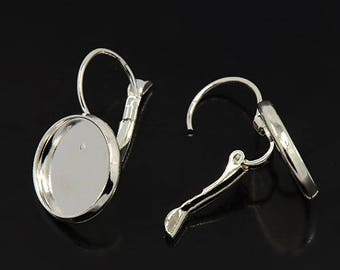 10 earrings with 14 mm silver-plated bezel
