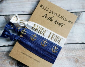 White/Gold/Navy Bridemaid Gift 3 pcs set - Will you help me tie the knot- Bridesmaid Proposal Gift- Wedding/Bridesmaid/Gift/Wedding Party