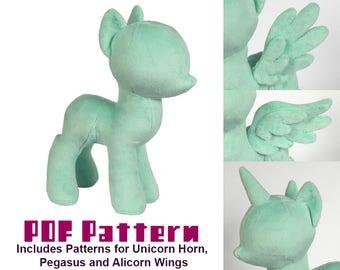 PDF Sewing Pattern - Pony Stuffed Animal Plush Toy - Unicorn, Pegasus, and Alicorn Options