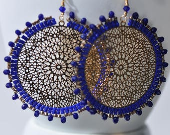 Cobalt blue Delica miyukis, Faceted blue crystals, Lasercut gold center, very light, Mandala/ Dangle circular beaded earrings