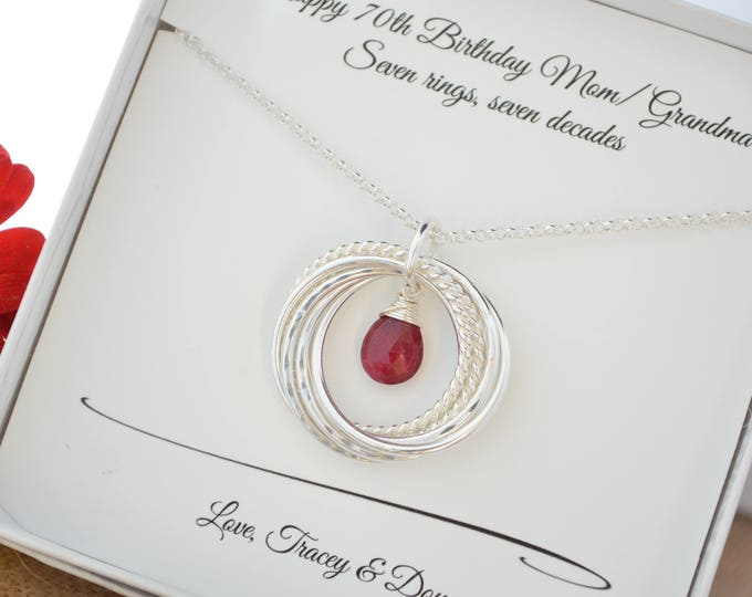 70th Birthday necklace with July birthstone, 70 Birthday gift for mom and grandma, 7th Anniversary gift for women, Ruby birthstone, July