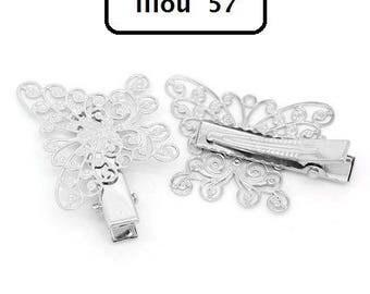 1 x shape hair clip Butterfly filigree silver 4.2 cm x 2.7 cm