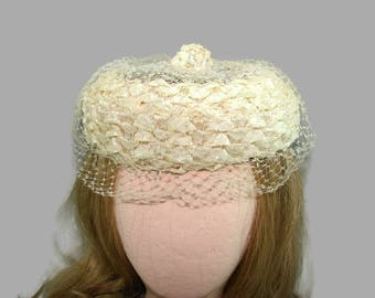 Vintage Off White Woven Hat, Ivory Braided Straw or Raffia Pillbox Hat with Patterned Netting Veil