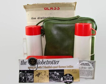Aladdin Thermos Set, Ala-Diner Outing Kit, Quart Thermos Bottles, Sandwich Box, Green Carrying Case, Picnic Set