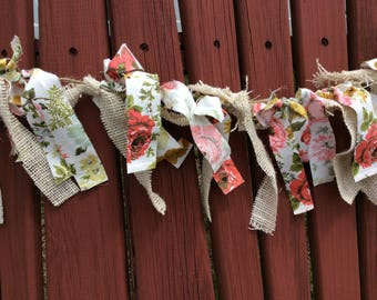 Vintage floral fabric and burlap Garland