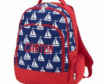 Sailboat Backpack - Includes Embroidery Personalization - Boat Backpack - Embroidered Backpack - Sailboat - Back to School