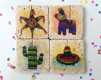 Colorful Natural Stone Pinata Coasters