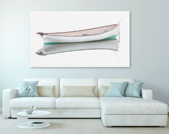 White Rowboat Large Canvas Art, Boat Panorama Photography, Nautical Wall Decor, Coastal Canvas Print, Panoramic Photo on Canvas, Teal Beige
