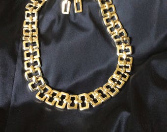 Vintage Gold Toned Chain Link Earrings and Choker