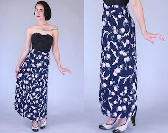 1940s La Paloma skirt | vintage 40s novelty print high waisted long skirt | large