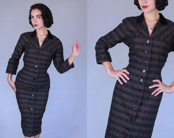 1950s Dependable dress | vintage early 50s black & brown plaid button front wiggle dress | medium / large