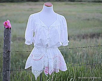 Repurposed Upcycled Romantic Shabby Shirt Size Large Women's Clothing