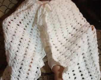 White hooddr baby cape 3 to 6 mo plus