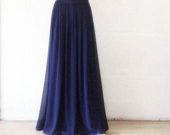 Navy Blue Bridesmaid Skirt. Navy Blue Maxi Skirt. Long Evening Skirt. Floor Length Skirt.
