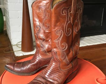 Vintage Leather Cow Girl Western Boots